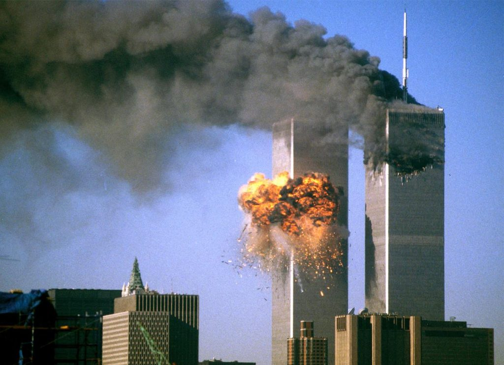 9/11 Twin Towers in flames